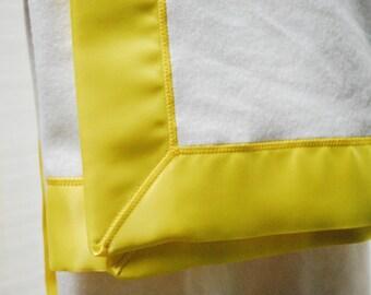 GOTS Organic Cotton Fleece Blanket with Sunny Yellow Satin Trim Baby Blanket, Organic LOVEY