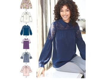 Simplicity Pattern  8215 Misses' Blouse with Neckline and Sleeve Variations