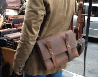 iPad bag, Crossbody messenger, Mini satchel, Leather tablet bag, iPad weekend messenger, Small laptop satchel, Custom made in NYC
