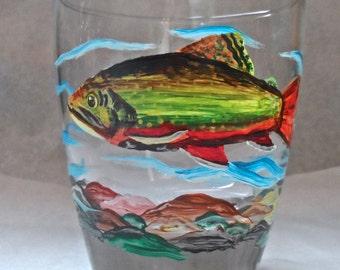 Fish glass, fishing glass, fly fishing glass, rocks glass, fisherman glass, trout glass, salmon glass, fish rocks glass,