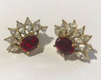 Vintage Earrings - Cosume Jewellery - Gold with Red and White Stones