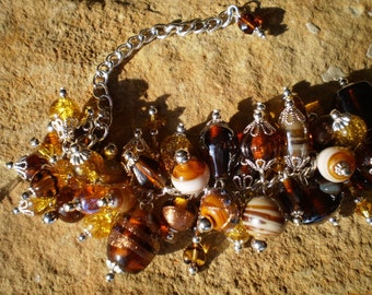 Brown and Amber Glass, Lampworked Glass, and Czech Glass Chunky Bead Bracelet