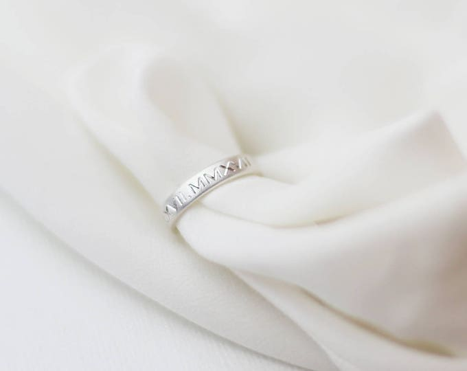 Roman numeral Date Ring // Wedding Date Ring // Personalized Coordinate Sterling Silver ring