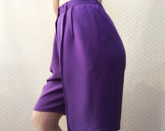 1980s Silk Wide Leg Bermuda Shorts in Warm Lavender by Due per Due only at Bloomingdale's