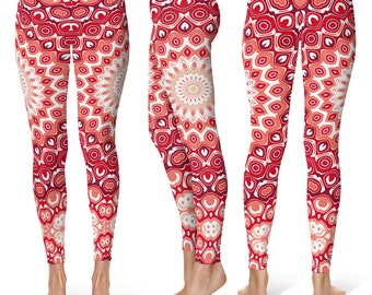 Red Leggings Yoga Pants, Bright Printed Yoga Tights for Women, Mandala Pattern