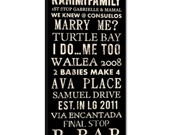 Wedding Family Name Sign Bus Scroll, Subway Art, Tram Scroll, Destination Roll - Distressed Quality Canvas