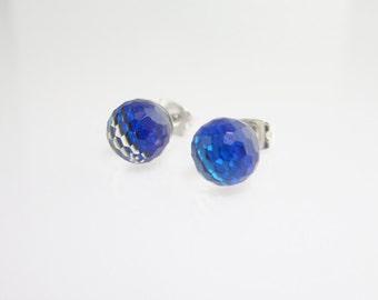 Deep Blue Swarovski crystal post earrings, Small studs, 8mm round earrings, Cobalt Blue earrings on surgical steel post, Intense Blue post