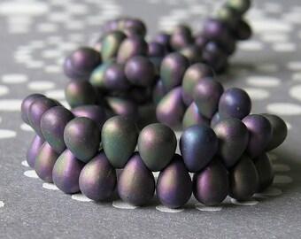 Matte Purple Iris Mix Czech Glass Bead 4x6mm Teardrop Mix : 50 pc Matte 6x4mm Tear Drop Mix