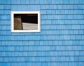 Bright Blue Architecture Photography, Window Photograph, Fine Art Print, Sky Blue, Vintage Building, Farmhouse Cottage Minimalist Geometric