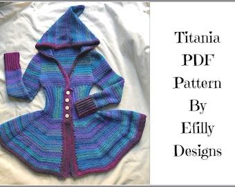 PDF Crochet PATTERN. Titania Pixie Jacket. Adult Faerie Fairy Coat. Ladies Crochet Hooded Woodland Sweater. Boho, Elven, Hippie,