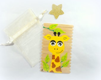 Puzzle for kids,  puzzle, Wooden giraffe puzzle, Children puzzle, Original gift for kids, Busy bag activity, Travel game, gift for kids