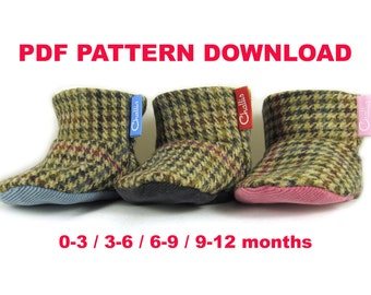 Baby Booties, Sewing Pattern, Instant Download, Baby Shoes, Digital Download, Baby Clothes, PDF Sewing Pattern, Baby Boots, Baby Boots