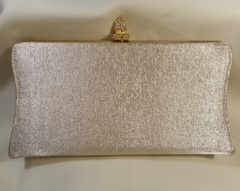 REDUCED 50% Vintage Gold Fabric Clutch Evening Handbag with Gold and Rhinestone Clasp