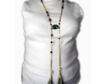 Jewelry necklace beads natural semi precious handmade hand CHARLESTON