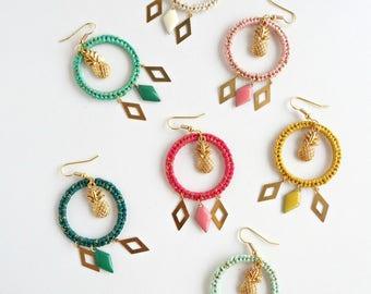 Boucles d'oreilles tropicales, ananas, 7 coloris été au choix, finition dorée ou argentée , bohème chic, bijou tissé, CERKIO TROPIKAL
