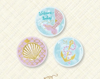 Mermaid Baby Shower Purple and Gold Printable Cupcake Topper Round party favor tag splash tail shell anchor glitter instant download pdf