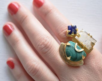 Funky turqoise with semi-precious stone , gift for  her , gift for daughter , index finger ring , statement ring