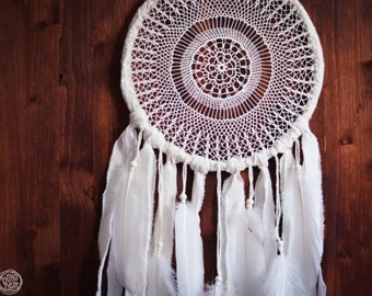 Dream Catcher - White Mandala - Unique Dream Catcher with White Handmade Crochet Web and White Feathers - Mobile, Home Decor, Decoration