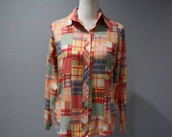 Vintage Blouse Womens Size 4 6 Button Front Faux Patchwork Long Sleeve Top