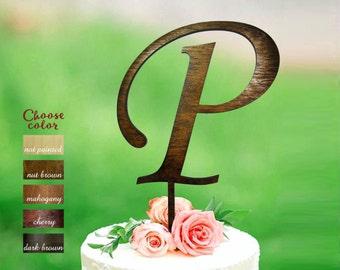 p Cake Topper, Cake Topper Letter p, Cake Topper for Wedding, Monogram Cake Topper Wood, Rustic Letter Cake Topper, Cake Topper p, CT#148