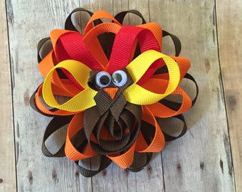 Thanksgiving Turkey Bow, Turkey Hair bow, Turkey Clippie
