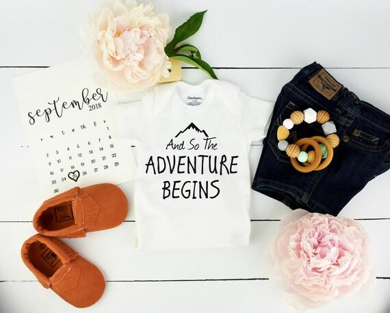 The Adventure Begins Onesie / baby announcement Onesie
