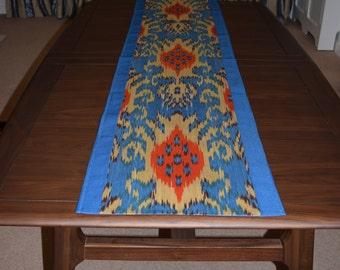 Light blue table runner, table linen, handmade table runner, Ikat table runner, boho style table runner