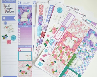 Pretty Elephants Weekly Kit!  Available for Erin Condren Life Planner or MAMBI/Happy Planner