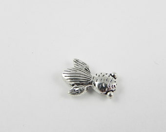 20 Koi Fish Metal Beads - Antiqued Silver - 15mm x 10mm