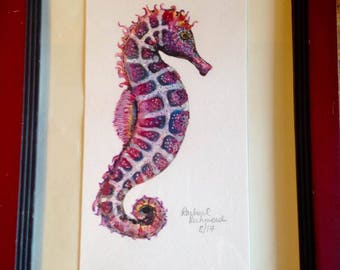 Fiery Seahorse - Original Watercolor in recycled frame