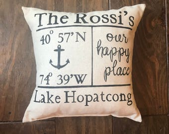 Lake House Pillow, Beach House Pillow, Lake House Decor, Beach House Decor, Personalized GPS Pillow, Our Happy Place,  Housewarming Gift