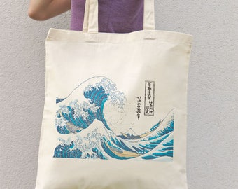 Kanagawa great wave tote bag-Kanagawa tote-The great wave cotton tote bag-Hokusai tote bag-Japanese style tote bag-NATURA PICTA NPTB089