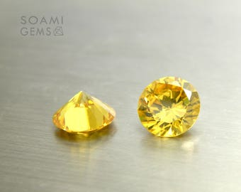 Loose Cubic zirconia round yellow, 6-10 mm round cut red citrine loose cubic zirconia faceted gem