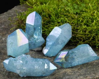 One AQUA AURA QUARTZ Crystal - Angel Aura Quartz Point, Rainbow Crystal Point, Aura Crystal Jewelry, Rainbow Aura Quartz Necklace E0183