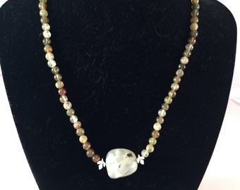 Green tourmaline beaded necklace with green focal bead