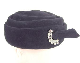 Vintage Black Pillbox Hat, Velvet With Rhinestone Accent
