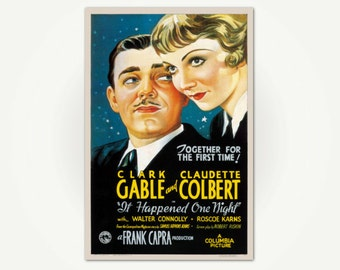 It Happened One Night Classic Movie Poster Print - Vintage Hollywood Poster Art - Clark Gable - Claudette Colbert - Frank Capra