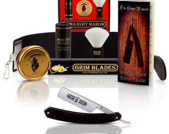 The Blade's Grim Straight Razor In Carbon Fiber Scales and Luxury Kit