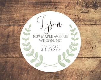 Return Address Label -- Green Laurel // Return Address Sticker // Wreath Return Address Sticker // Custom Address Sticker