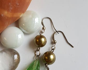 Green Pearl Dangle Earrings, Sales, Clearance, Discount, Markdown,Special