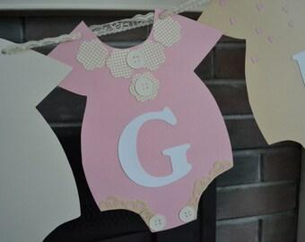 Shabby Chic Baby Shower Banner, Girl Baby Shower Banner, Baby Girl Nursery Banner, Onesie Banner, Gender Reveal Banner