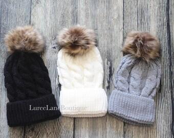 Pom beanie/ Wool beanie/ Wool pom beanie/ Mom & me beanie/ Fur pom beanie/ Mommy and me beanie/ Winter hat/ Winter beanie/ Wool hat
