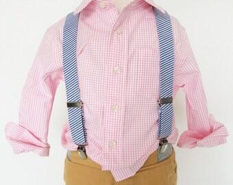 Blue Jean Seersucker Suspenders