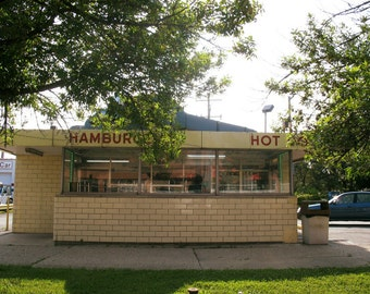 Chicago Photography, Evanston Photo, hamburgers, hot dogs,Bill's Drive-In, Mid Century, restaurant, red, yellow, vintage, food art, decor