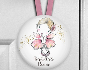Pink fairy decorations for girls bedroom decor - personalized door hangers name plaque - personalized baby shower gifts - HAN-PERS-26