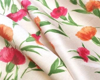 Flower Fabric Cotton Print Pink Orange Carnations Peter Pan Fabrics Vintage Fabrics