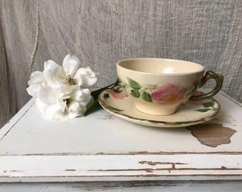 Vintage Franciscan Flat Cup & Saucer Set in Desert Rose (England and Portugal Backstamp)