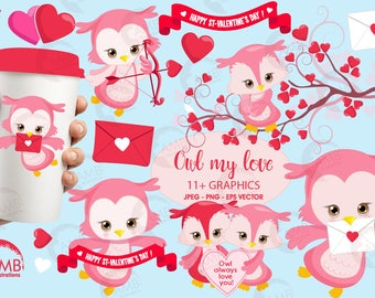 Valentine Clipart, Owl Clipart, Valentine Owls, Heart Clipart, Valentines Baby Owls, Commercial Use, AMB-1179