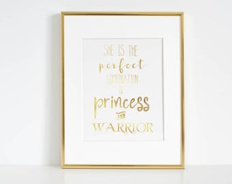 Princess and Warrior, Gold Foil Print, Room Decor