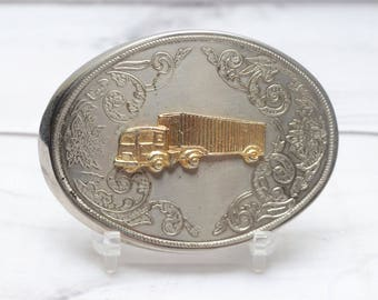 Vintage Belt Buckle Silver and Gold Color Truck Tractor Trailer Semi Cowboy Style